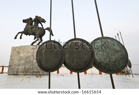 Statue of Great Alexander at Thessaloniki city capital of North Greece - stock photo