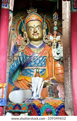 Statue of Guru Padmasambhava at Hemis Monastery, Leh-Ladakh, Jammu and Kashmir, India.  Padmasambhava  also known as Guru Rinpoche, was an 8th century Indian Buddhist master.