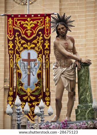 Statue of Jesus Christ during the Good Friday procession in Malta April 10, 2009 - stock photo