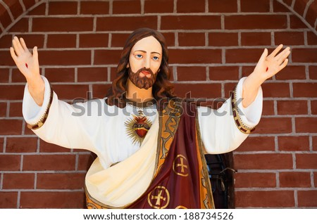 Statue of Jesus Christ. Sacred Heart. Christianity symbol - stock photo