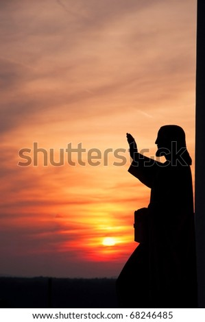 statue of Jesus giving blessing - stock photo