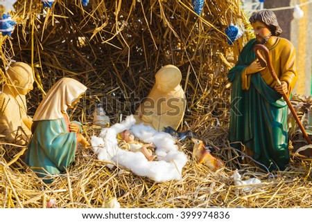 Statue of Jesus in the exhibit booth of Christmas. - stock photo