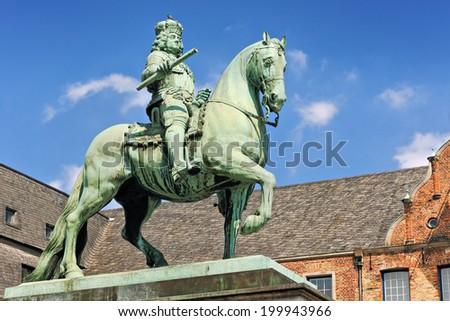 Statue of Johann Wilhelm (Jan Wellem) in front of the Dusseldorf town hall, North Rhine-Westphalia, Germany - stock photo