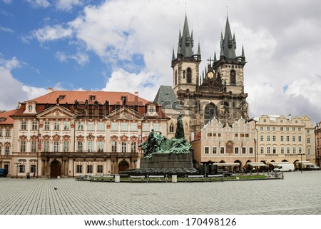 Statue of John Hus in downtown Prague, czech republic. Old Square Town in the summer day on 02 June 2012.