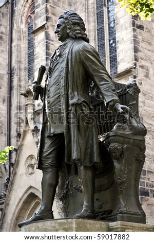 statue of JS Bach in front of St. Thomas Church in Leipzig, Germany