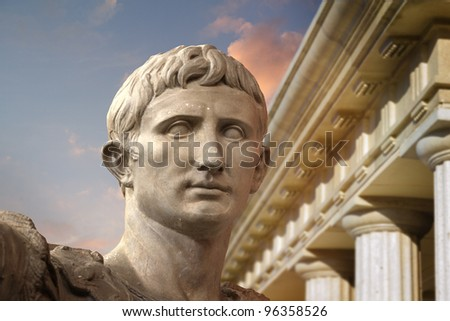 Statue of Julius Caesar Augustus in Rome, Italy  Ancient Art - stock photo