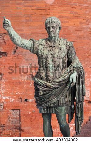 statue of Julius Caesar Augustus,  Italy: concept of leadership - stock photo