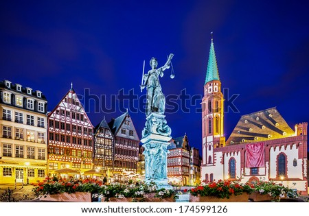 Statue of justice in Frankfurt old city - stock photo