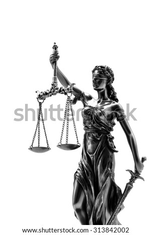 Statue of justice on the white background - stock photo
