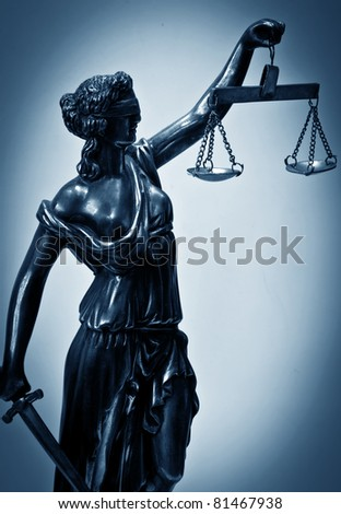 Statue of justice. Silhouette - stock photo