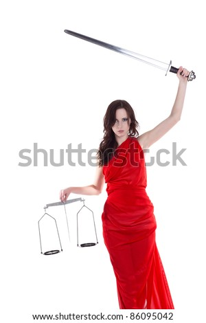 Statue of justice. Woman with scale and sword. - stock photo