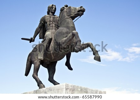 Statue of King Alexander the Great in Thessaloniki, Greece - stock photo