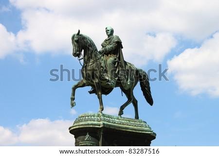 Statue of King Johann in front of Semperoper, Dresden, Germany - stock photo