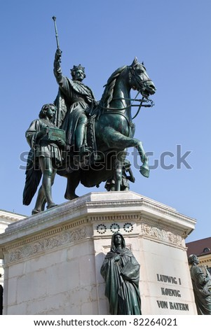 Statue of King Ludwig of Bavaria in Munich, Germany, against blu sky