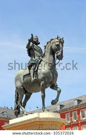 Statue of king Philip III on Plaza Major in Madrid; capital of Spain; Europe