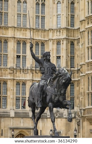 Statue of King Richard the Lionheart, London England - stock photo