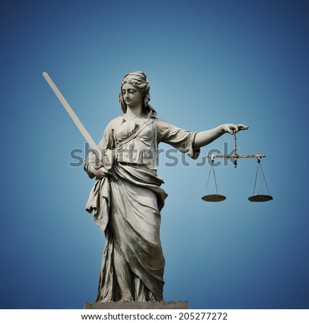 Statue of Lady Justice at Dublin Castle in Dublin, Ireland with filter effect - stock photo
