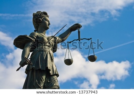 Statue of Lady Justice in Frankfurt, Germany - stock photo