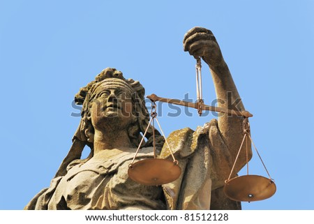 Statue of Lady Justice seen in Weikersheim (Germany) - stock photo