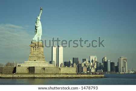 Statue of Liberty and Twin Towers - stock photo