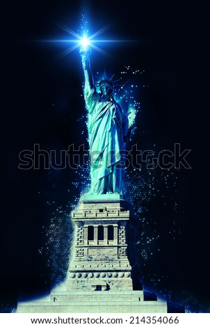 STATUE OF LIBERTY at night with shining torch illustration - stock photo