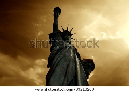 statue of liberty at the sunset