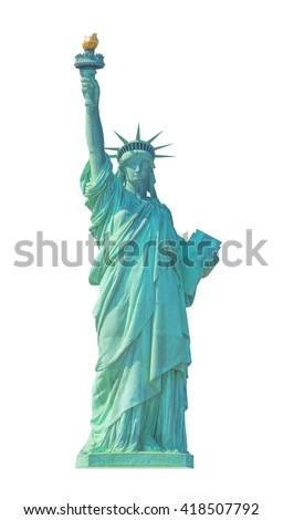 Statue of Liberty in New York City isolated on white. - stock photo
