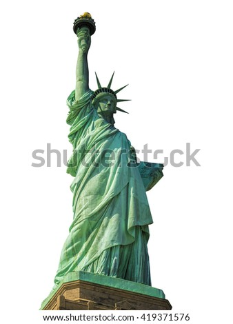 Statue of Liberty in New York City isolated on white - stock photo