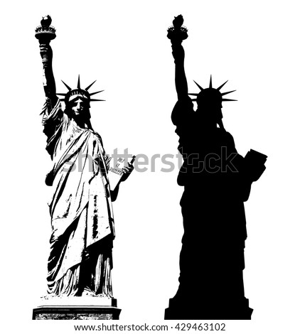 Statue of Liberty in New York City - silhouette