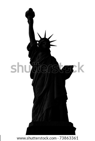 Statue of Liberty in New York City silhouette isolated on white. - stock photo