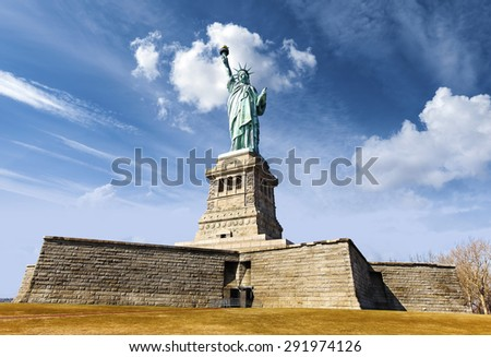 Statue of Liberty in New York City; USA. - stock photo
