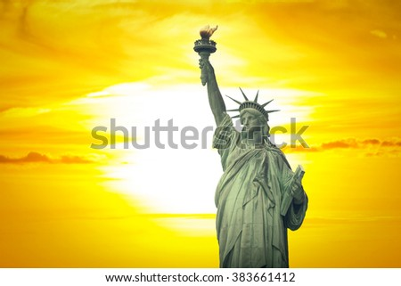 Statue of Liberty in New York City. USA - stock photo