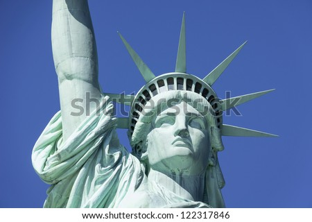 Statue of Liberty in New York set against a clear blue sky