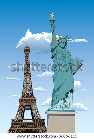 Statue of Liberty in Paris and Eiffel tower against blue sky with white clouds - stock photo