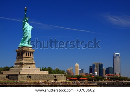 Statue of liberty in the sunny day - stock photo