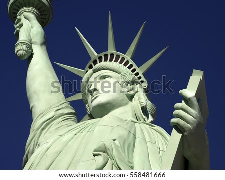STATUE OF LIBERTY, LAS VEGAS, NEVADA, USA - MARCH 25, 2016: Las Vegas was founded in May 1905 and incorporated as the city in 1911. Replica of the Statue of Liberty is placed on Las Vegas Boulevard.
