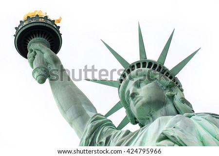 Statue of Liberty, Liberty Statue - Portrait, New York, USA - stock photo