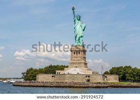 Statue of Liberty on Liberty Island in New York Harbor - stock photo