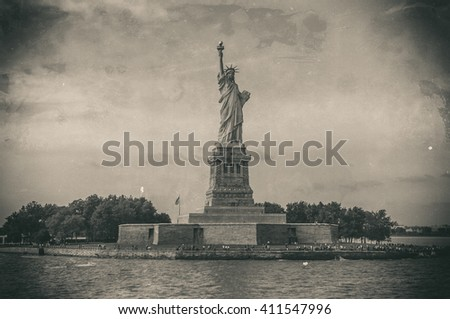 Statue of Liberty on Liberty Island, New York City, USA, Old style image - stock photo
