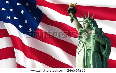 Statue of Liberty on the background of USA flag - stock photo