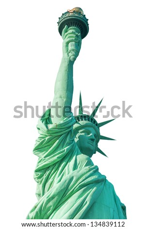 Statue of Liberty on white background - stock photo