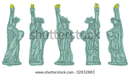 Statue of Liberty sketches at different view angles - stock photo