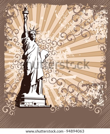 Statue Of Liberty - Symbol of New York City with place for text (eps version in my portfolio) - stock photo