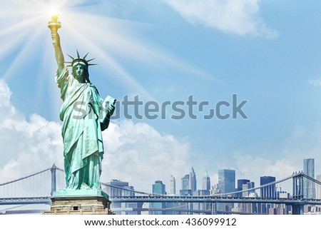 Statue of liberty with cityscape of New York. Tourism concept photography.