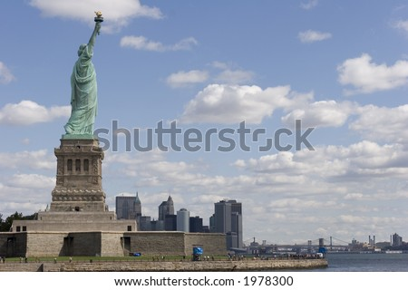 Statue of Liberty with Lower Manhattan in background