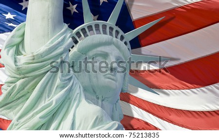 Statue of liberty with tear drop isolated - stock photo