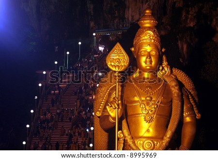 Statue of Lord Murugan during Hindu festival of Thaipusam in Malaysia. - stock photo