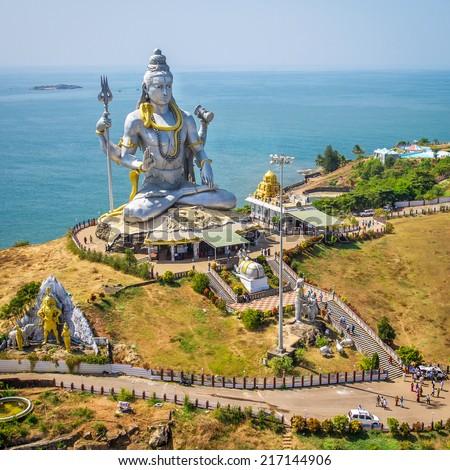 Statue of Lord Shiva in Murudeshwar Temple in Karnataka, India - stock photo
