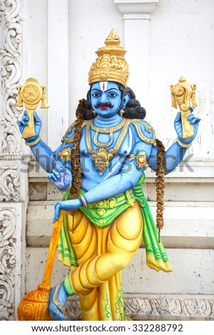 Statue of Lord Vishnu ,Hindu god - stock photo