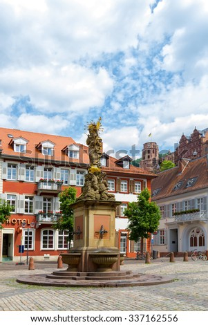 Statue of Madonna Mary and Jesus in town square.  Heidelberg, Germany - stock photo